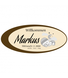 Rindenbrett oval - Willkommen Knabe, natur, ca. 340 bis 370 x 170 x 15 mm